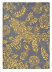 żółty szary dywan w kwiaty Loran Yellow 56306