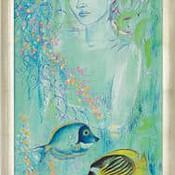 """""""Meerjungfrau"""" von Vlada Hauser - Limitierte Giclée-Reproduktion auf Leinwand"""