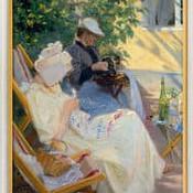 """""""Zwei Frauen im Garten (In der Laube)"""" von Peder Severin Kroyer, lim. Reproduktion"""