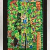 """Friedensreich Hundertwasser: """"Singender Vogel auf einem Baum in der Stadt"""""""
