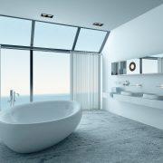 modernes Badezimmer, Panoramafenster, freistehende Wanne, hell Gestaltet