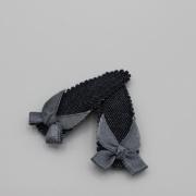 Setje denim haarspeldjes met grijs strikje