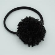 Haarbandje black pompom XL
