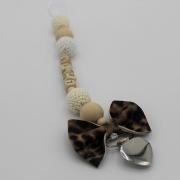 Gepersonaliseerd speenkoord leopard strik
