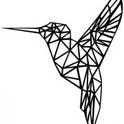muursticker origami kolibri