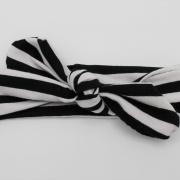 Wrap haarband zwart wit gestreept