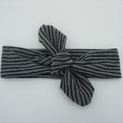 Wrap haarband grijs zwart gestreept
