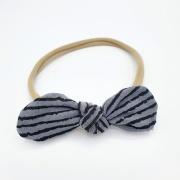 Haarband tricot grijs zwart gestreepte strik