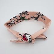 Wrap haarband roze bloemen