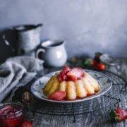 Milchreis Pudding mit Rhabarber Erdbeer Kompott