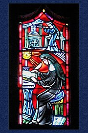 Bishop Marty Chapel Stained Glass Nuns Sisters Scribe Writing Yankton Benedictines Sacred Heart Monastery