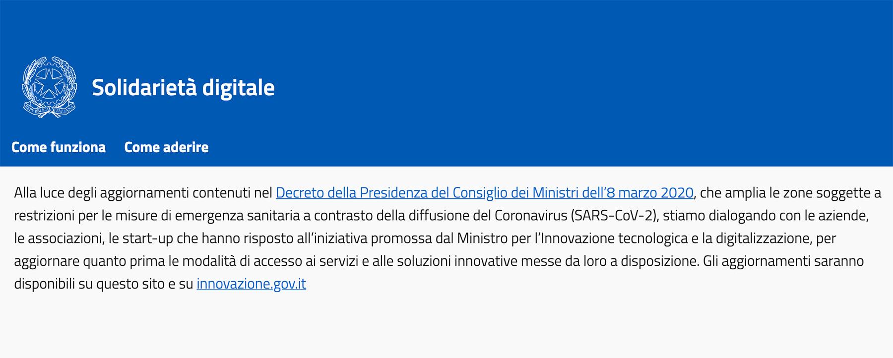 Coronavirus: Servizi Digitali Gratis per i residenti nelle Zone Rosse