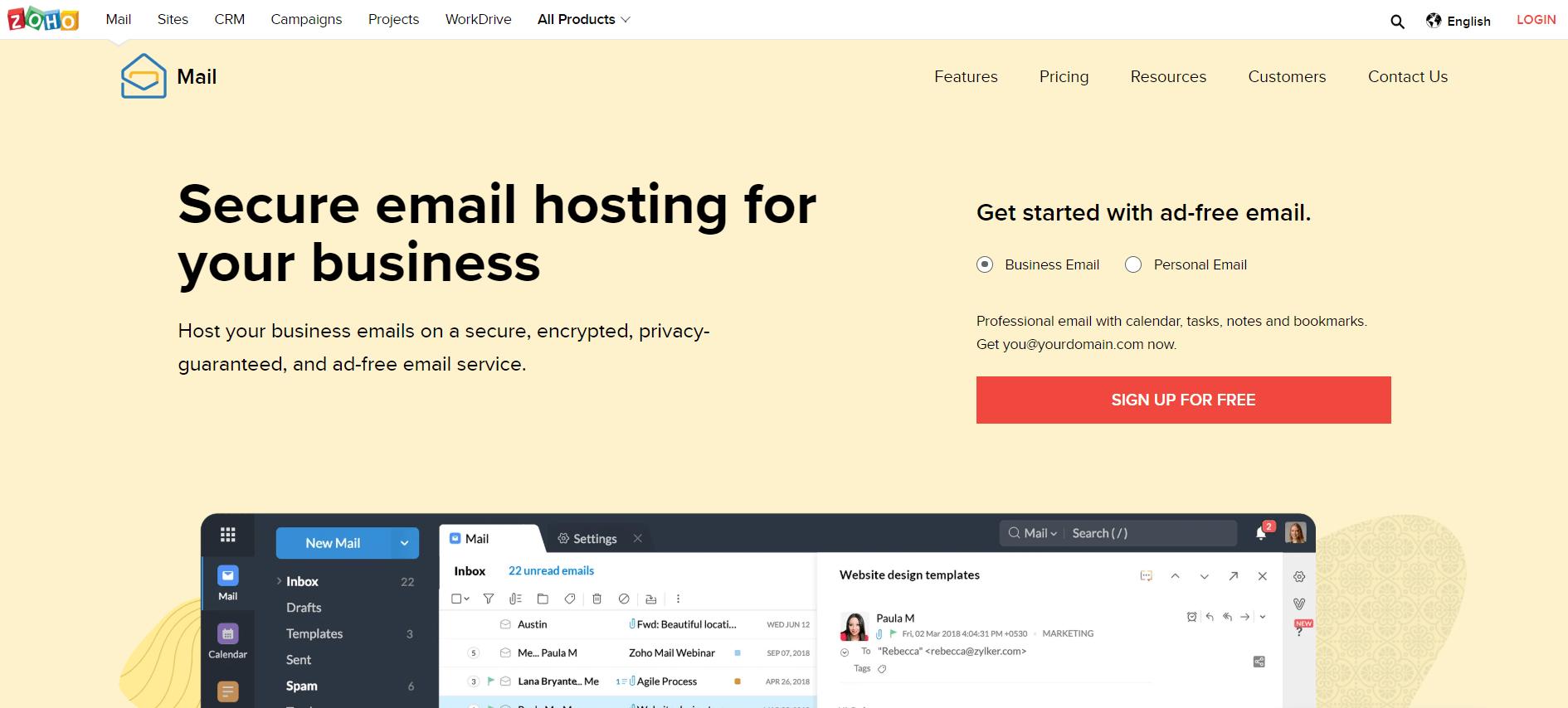 Zoho Mail email marketing platform