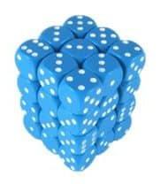 6 Vlakken Dobbelsteen Licht Blauw met Witte Stippen 12mm