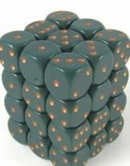 6 Vlakken Dobbelsteen Groen met Goude Stippen 12mm