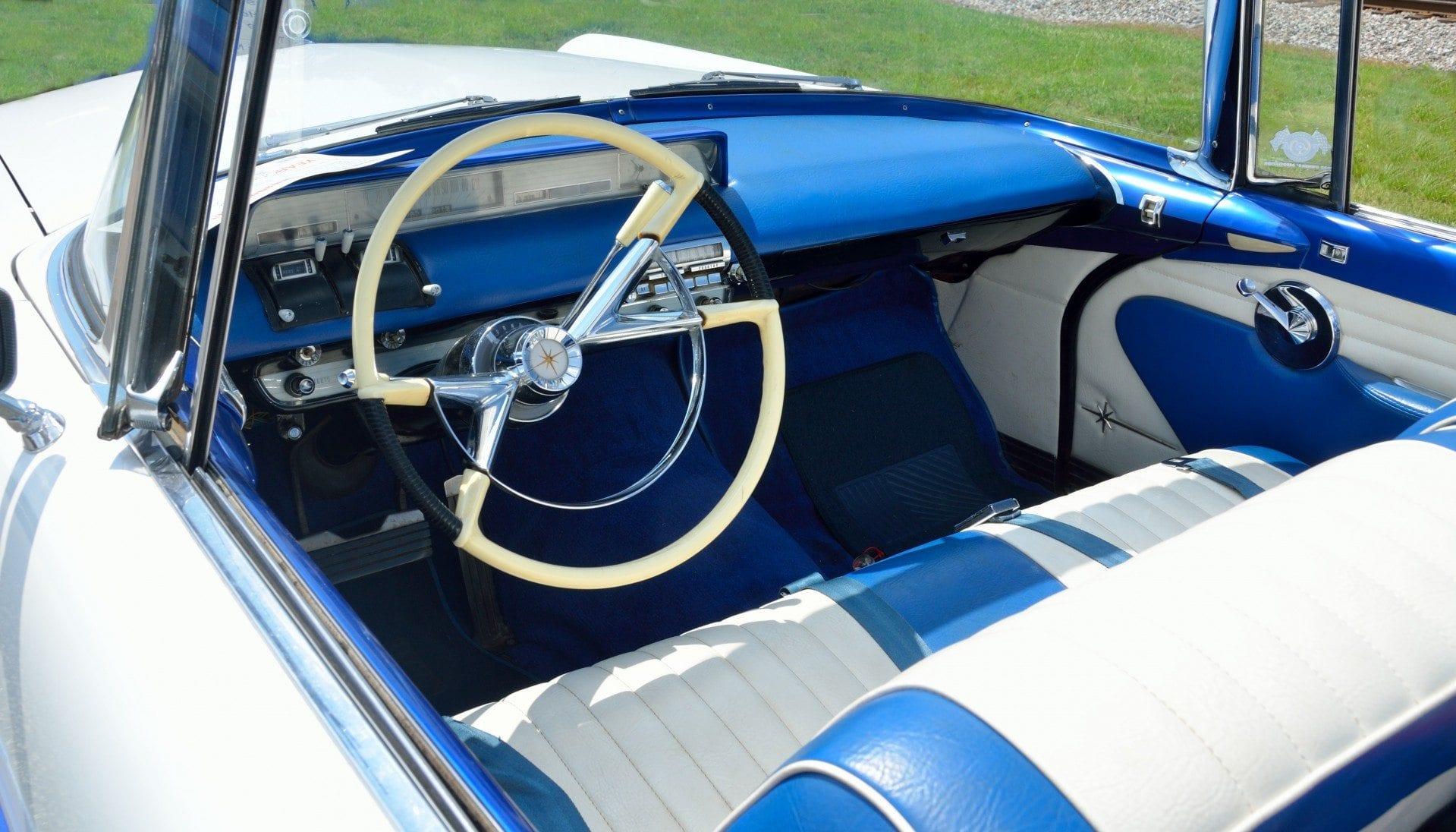blue car interior