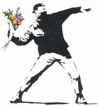 banksy's flower chucker, originally stencilled on a wall in bethlehem (palestinian terrotories)