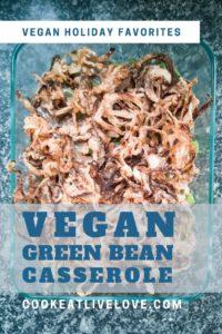Vegan green bean casserole pin for pinterest