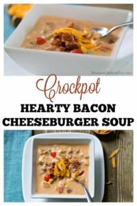 Crockpot Bacon Cheeseburger Soup - No fake ingredients, just good food! #crockpot #slowcooker #cheeseburger #soup #easydinnerrecipe #beef #bacon #cheese