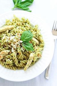 Pesto Chicken Pasta in White Dish