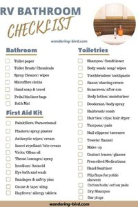 RV Bathroom essentials checklist- Packing a camper lists. 7 essential RV checklists to download and print at home.