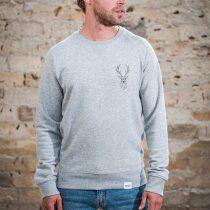 ÄSTHETIKA Sweatshirt -THE DEER grey/black front