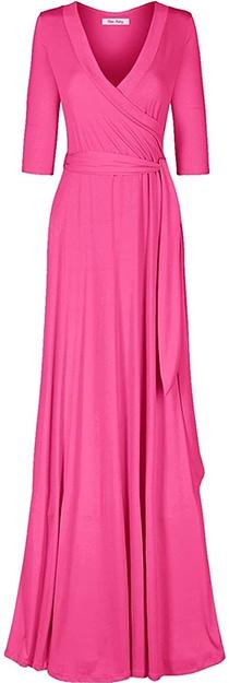 Bon Rosy maxi wrap dress | 40plusstyle.com