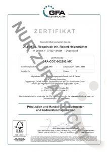 FSC-Zertifikat der ALPAFOL Flexodruckerei