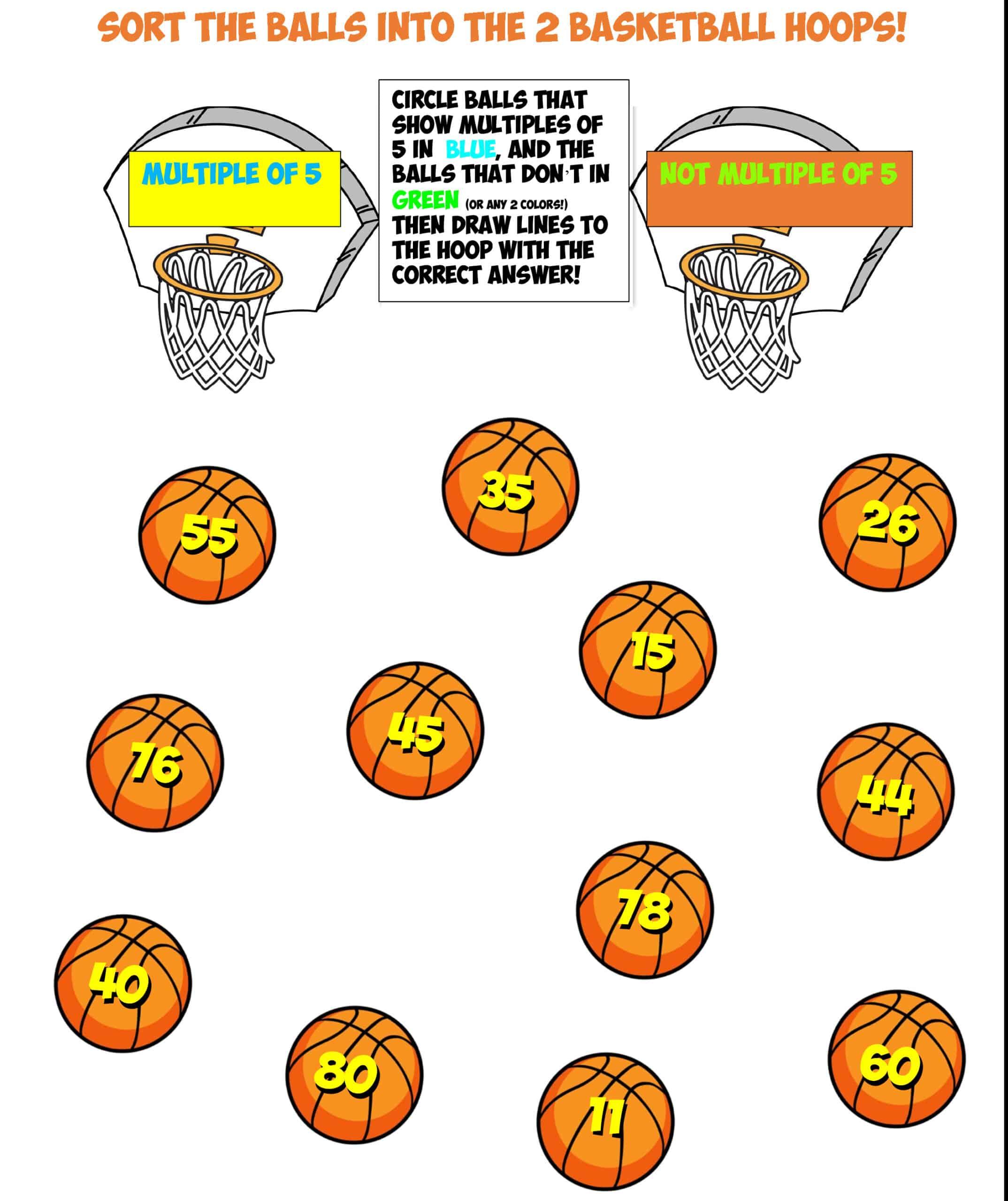 basketball sort #9 multiples of 5