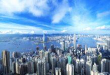 panorama wieżowców w Hong Kongu