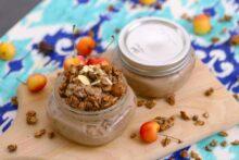 Chocolate Cherry Overnight Oats with Granola, 5 Minute Breakfast Ideas
