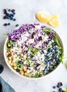 Vegan Chickpea Blueberry Salad - Running on Real Food