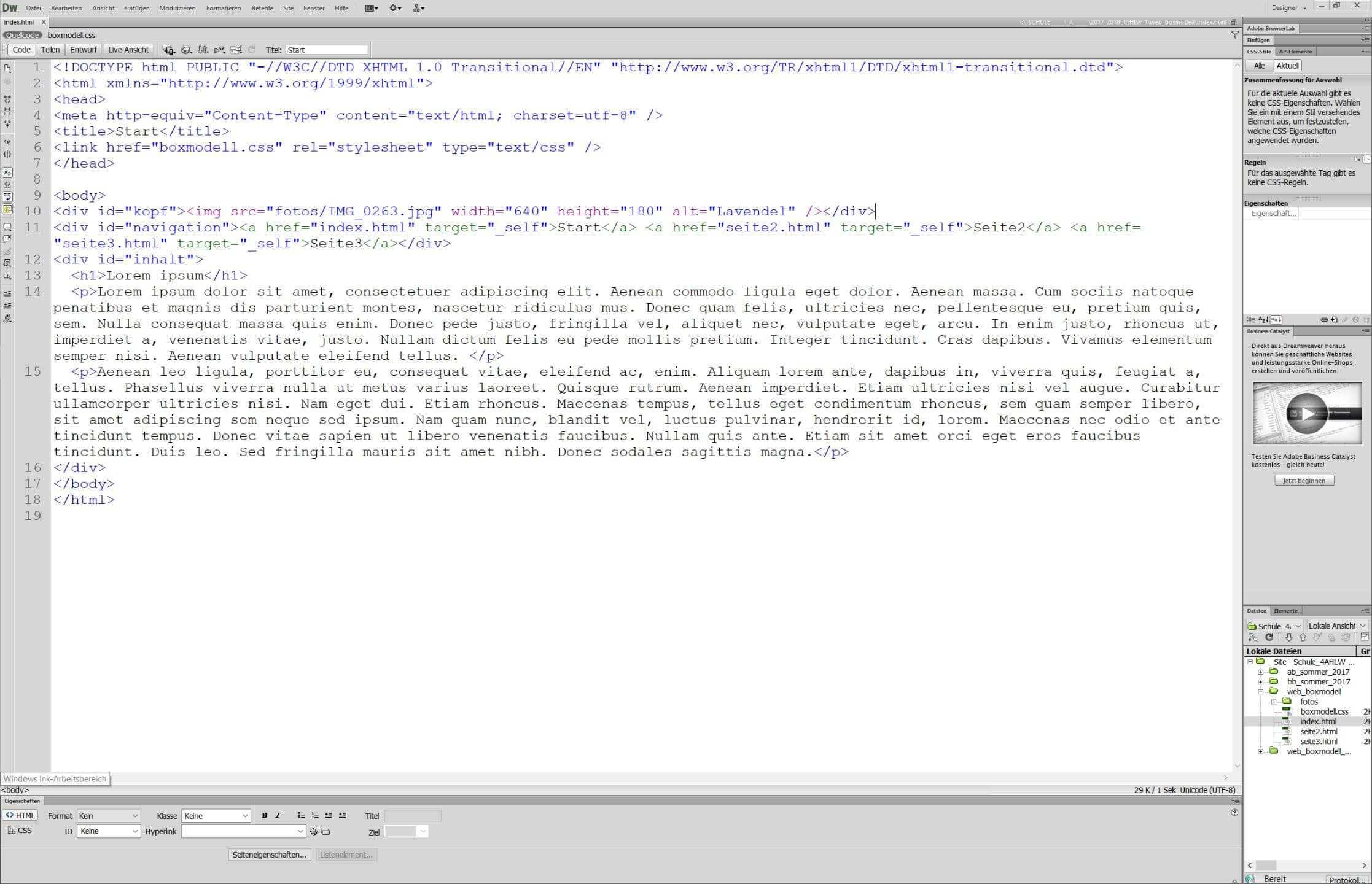 Adobe Dreamweaver Codeansicht
