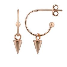 Rose Gold Dipped Sterling Silver Spike Charm Open Hoop Stud Earrings