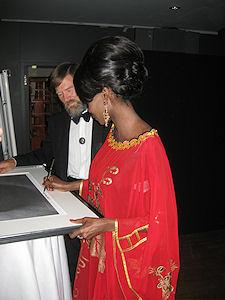 Ian Redmond and Princess Odette at the International Year of the Gorilla Symposium, Frankfurt, Germany.