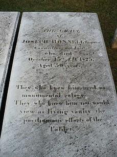 Gravestone of Joseph Bonnell Esq.