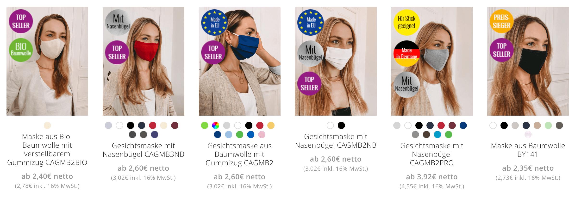 Masken bedrucken - Preisübersicht