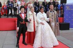 Marlon I. Sophie I., Désireé I., Moritz II. (von li. nach re.), Inthronisation der Narrhalla Prinzenpaare am Marienplatz in München 2020