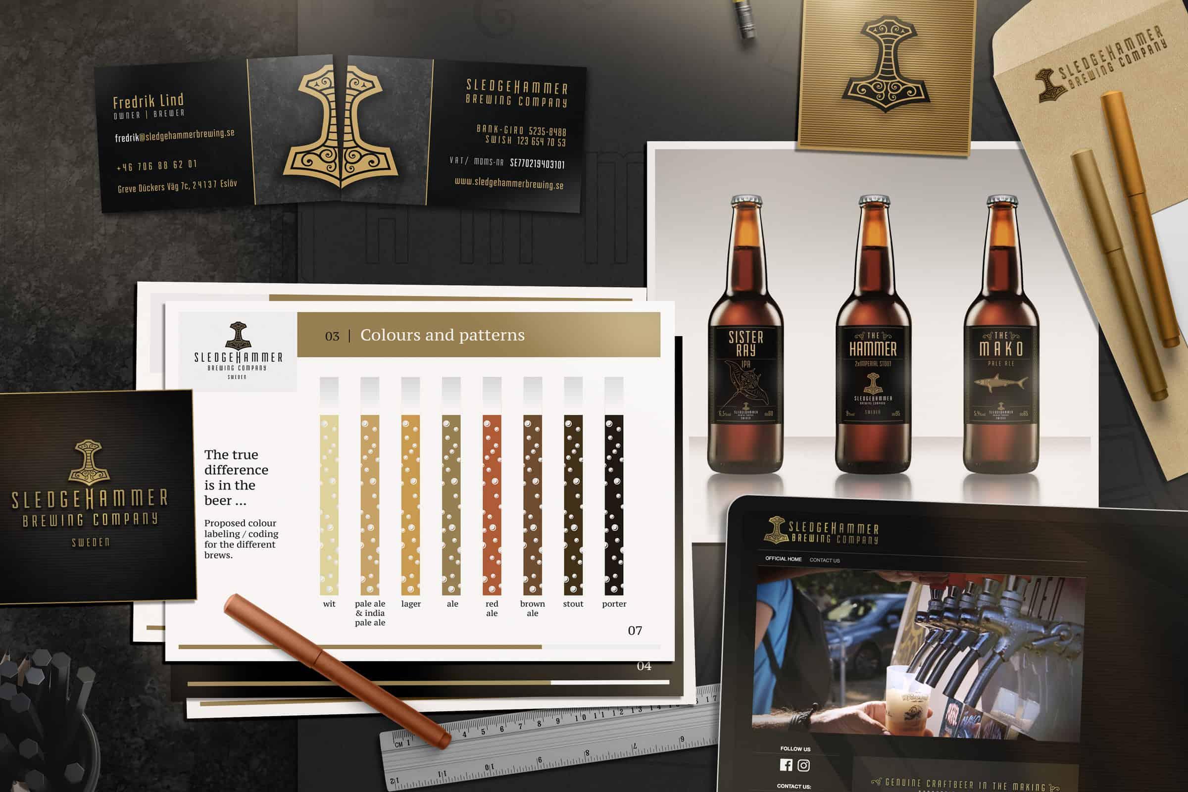 Papper med lgotyp, visitkort, utkast på hemsida och grafisk profil för bryggeriet Sledgehammer Brewing Company.