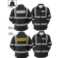 High Visibility Black Sheriff Raincoat With Reflective Stripes