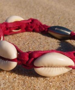 Muschelarmband Kauri-Muschel Lederarmband Pink