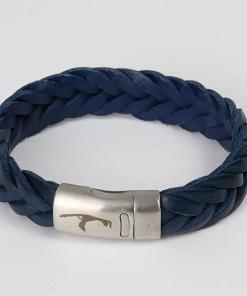 Breites Herren Lederarmband Marineblau