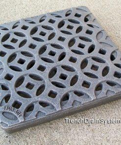 Iron Age 9x9 cast iron catch basin grate - Interlaken pattern - raw