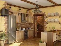 Отделка стен на кухне в тёплых тонах фото