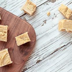 Peanut butter fudge on wood tray