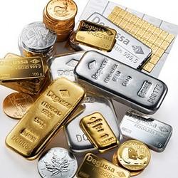 Goldmünzen. Goldbarren, Silber, Degussa