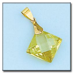 Colgante cuadrado con piedra de color peridot en oro de 18Kts. L Ref; 248