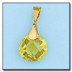 Colgante en oro de 18 Kl. con piedra en color Peridot light. Diámetro de la piedra: 12mm. Medida del colgante: 12x19mm. L Ref; G263