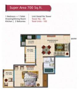 Rudra palce height floor Plan 700sqft