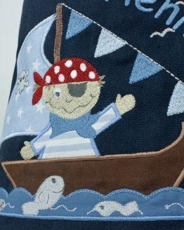 Turnbeutel bzw. Wäschebeutel, bestickt, Motiv Pirat, Farbe Navy